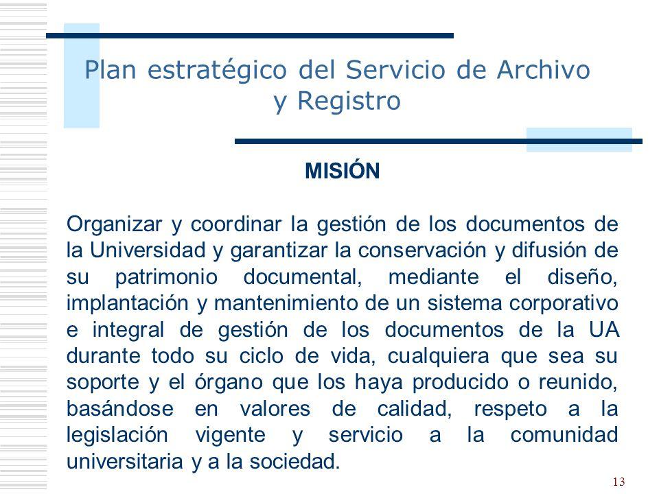 Plan estratégico del Servicio de Archivo y Registro