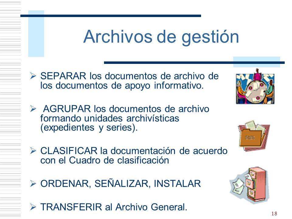 Archivos de gestión SEPARAR los documentos de archivo de los documentos de apoyo informativo.