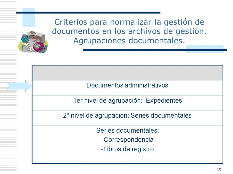 Criterios para normalizar la gestión de documentos en los archivos de gestión. Agrupaciones documentales.