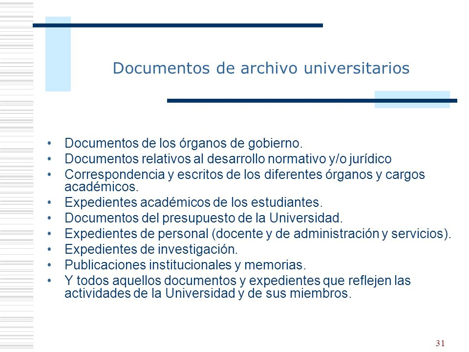 Documentos de archivo universitarios