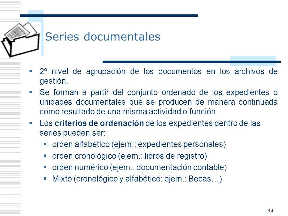 Series documentales 2º nivel de agrupación de los documentos en los archivos de gestión.
