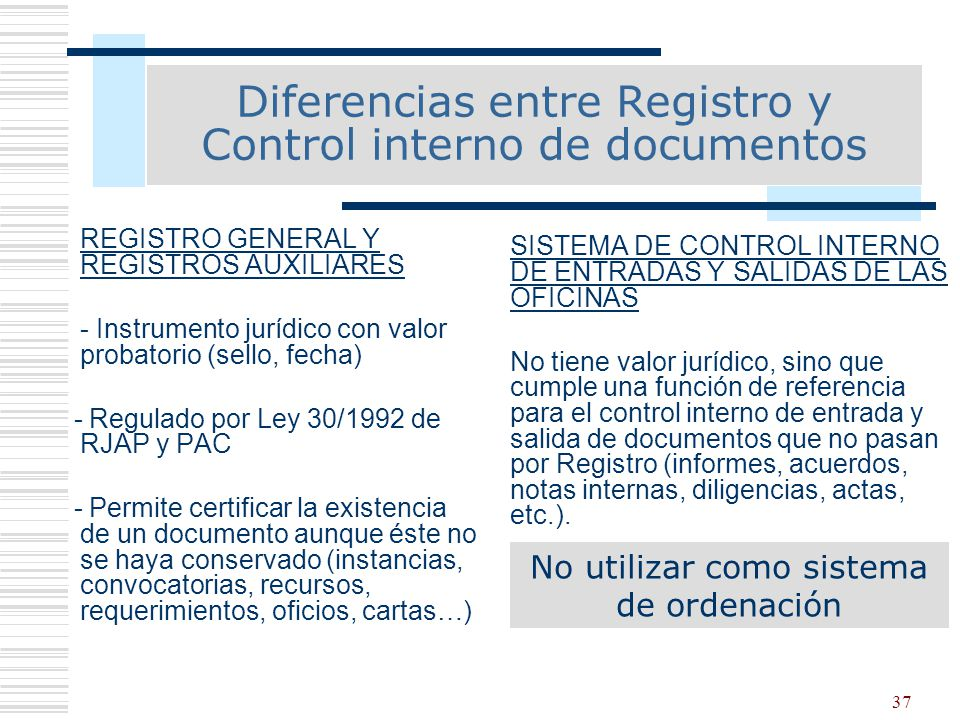Diferencias entre Registro y Control interno de documentos