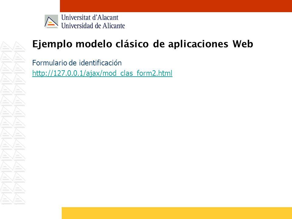 Ejemplo modelo clásico de aplicaciones Web