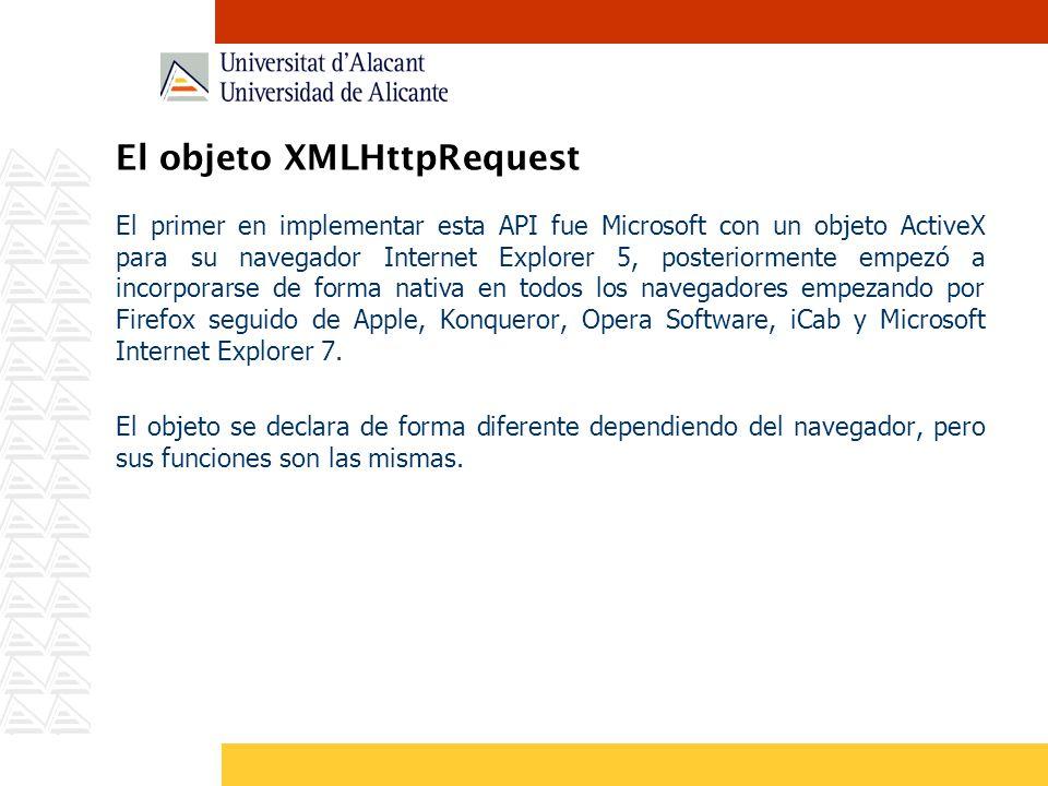 El objeto XMLHttpRequest