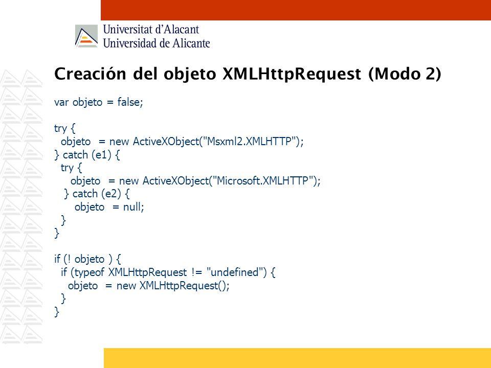 Creación del objeto XMLHttpRequest (Modo 2)