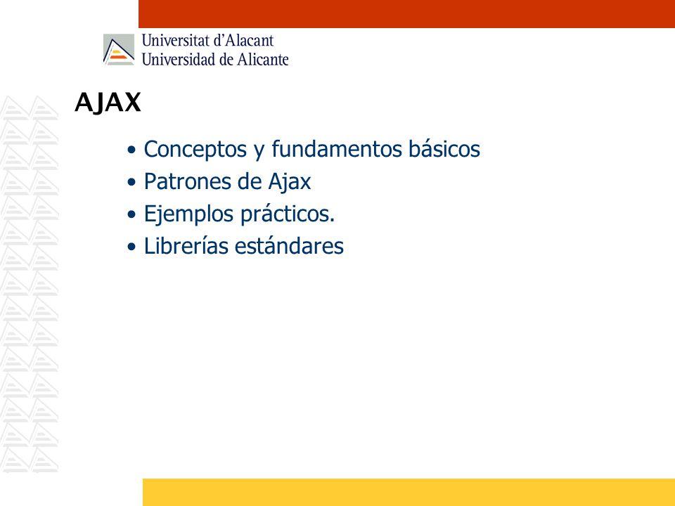 AJAX Conceptos y fundamentos básicos Patrones de Ajax