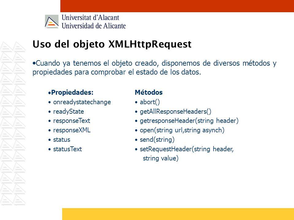 Uso del objeto XMLHttpRequest