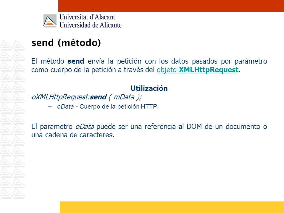 send (método) El método send envía la petición con los datos pasados por parámetro como cuerpo de la petición a través del objeto XMLHttpRequest.