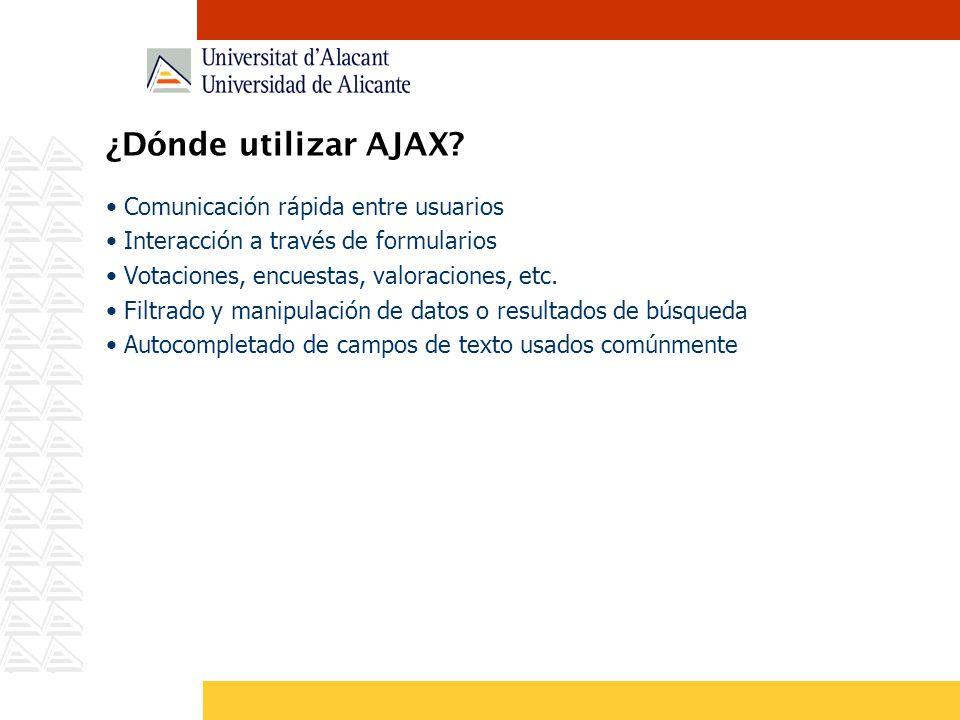 ¿Dónde utilizar AJAX Comunicación rápida entre usuarios