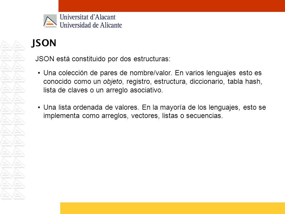JSON JSON está constituido por dos estructuras: