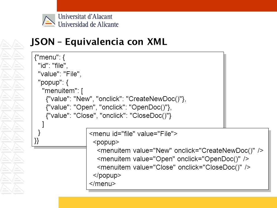 JSON – Equivalencia con XML