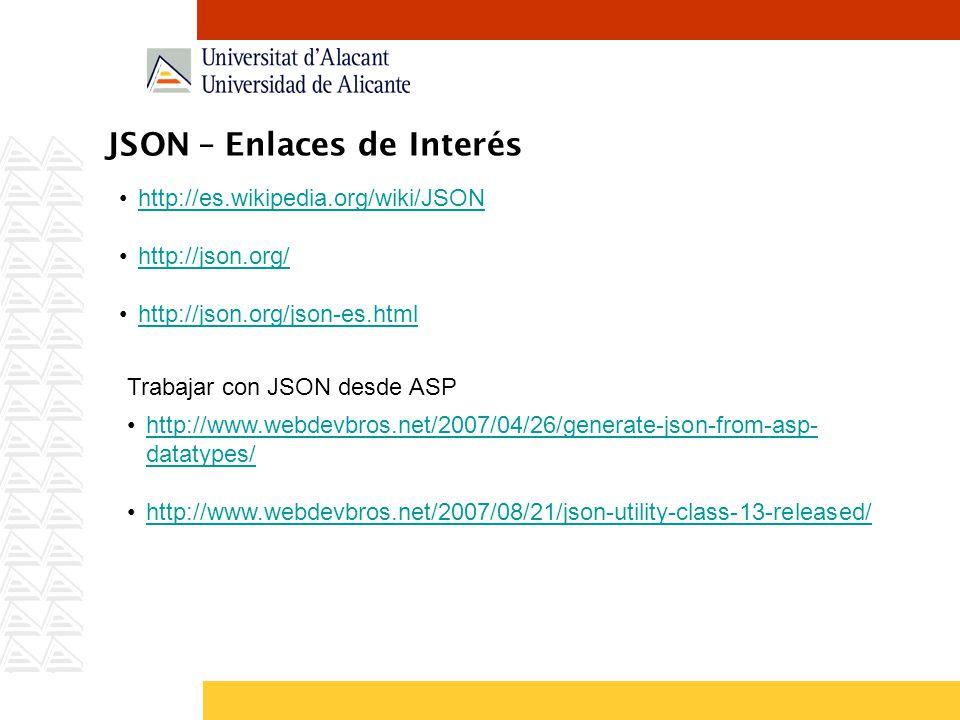 JSON – Enlaces de Interés