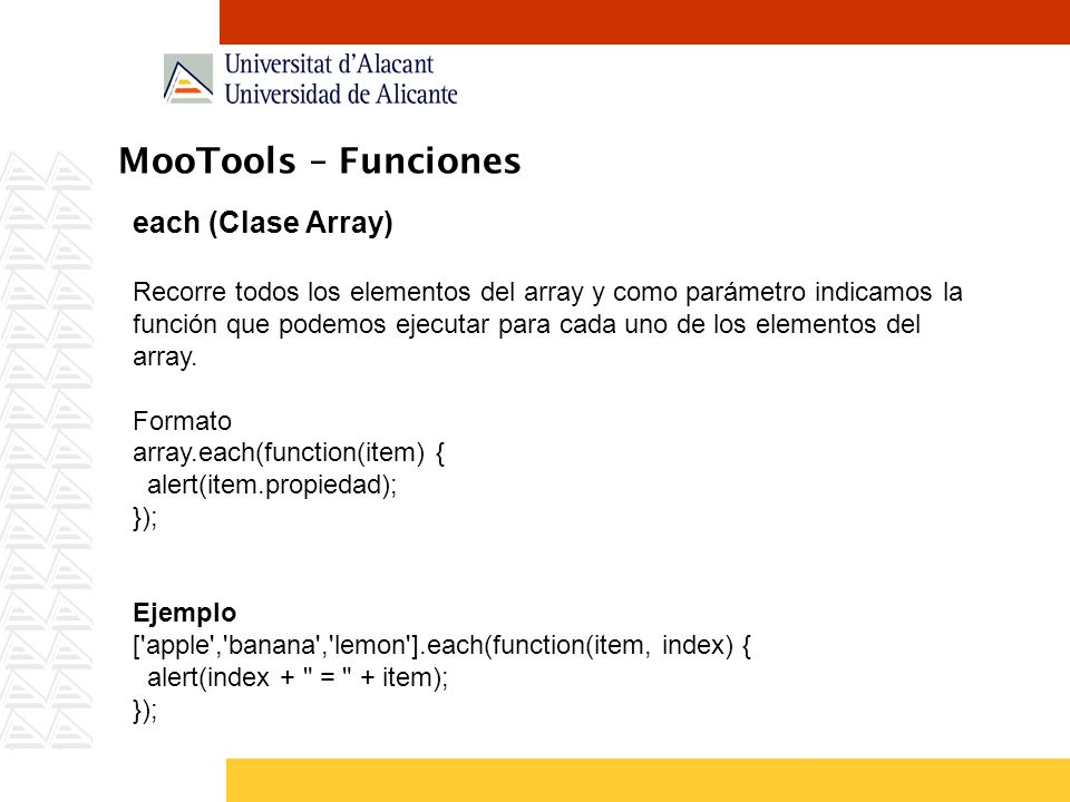MooTools – Funciones each (Clase Array)