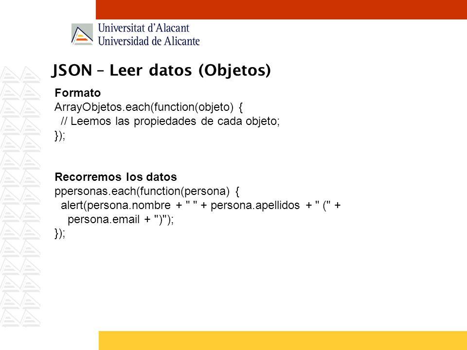 JSON – Leer datos (Objetos)