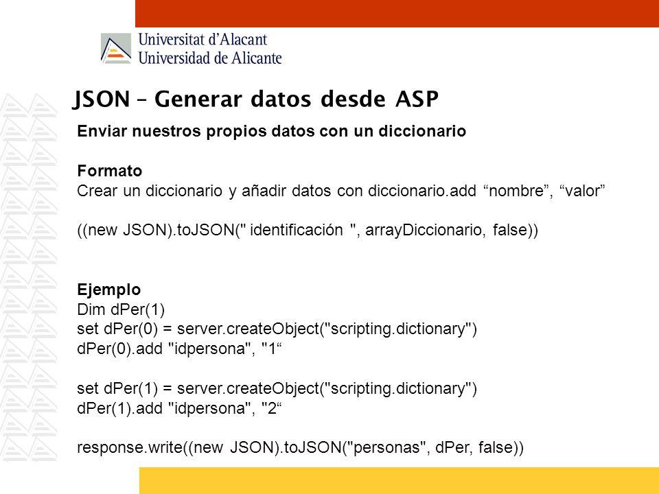 JSON – Generar datos desde ASP