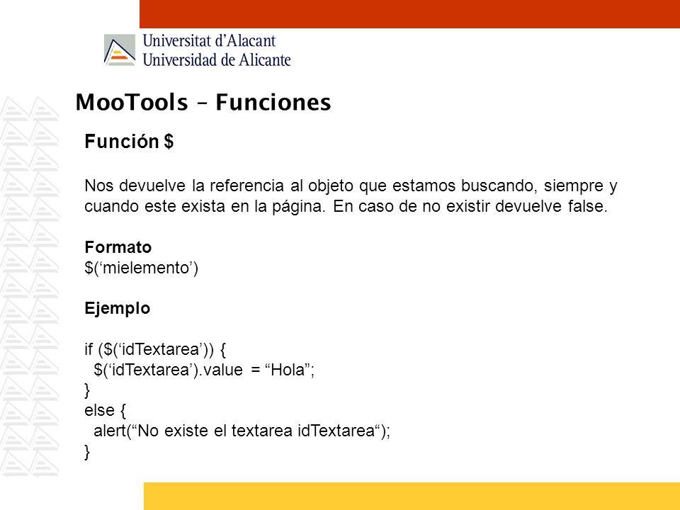 MooTools – Funciones Función $