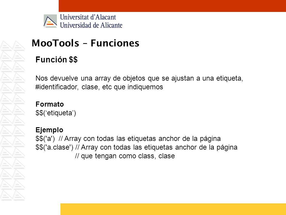MooTools – Funciones Función $$