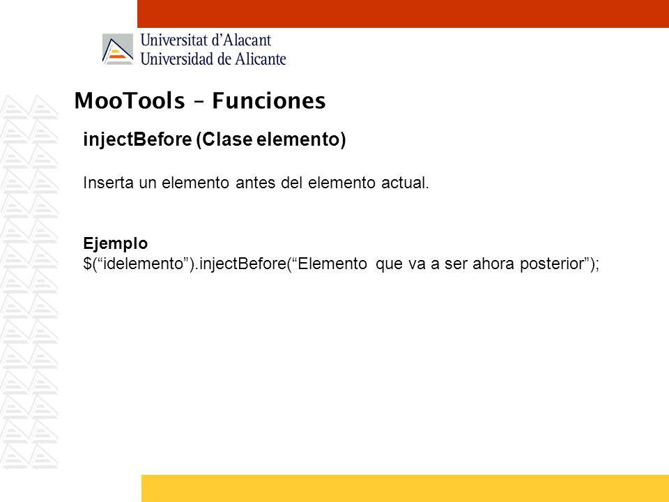 MooTools – Funciones injectBefore (Clase elemento)