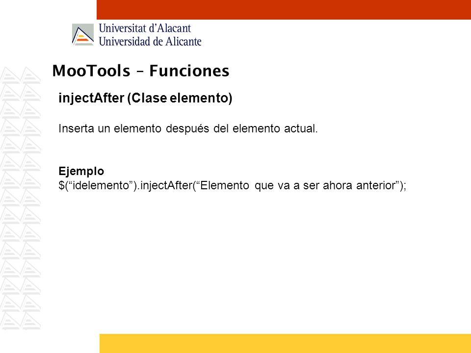 MooTools – Funciones injectAfter (Clase elemento)