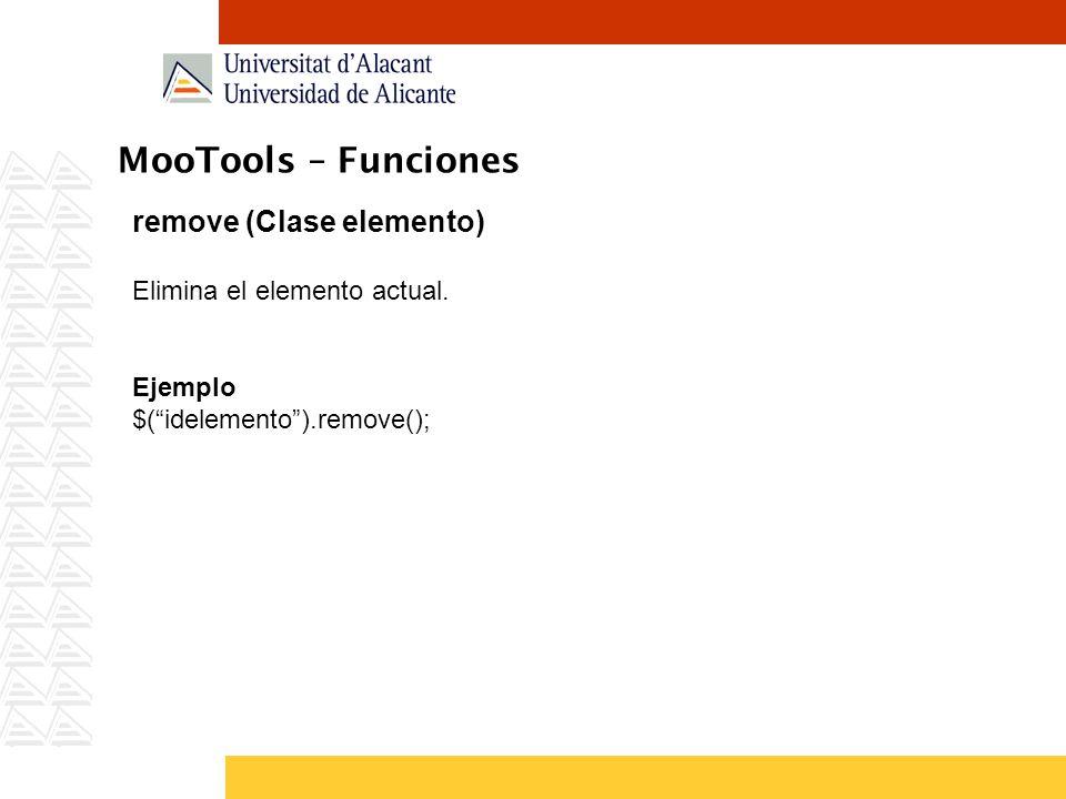 MooTools – Funciones remove (Clase elemento)