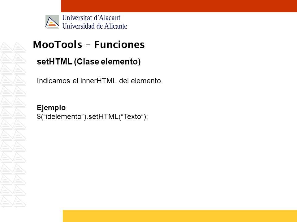 MooTools – Funciones setHTML (Clase elemento)