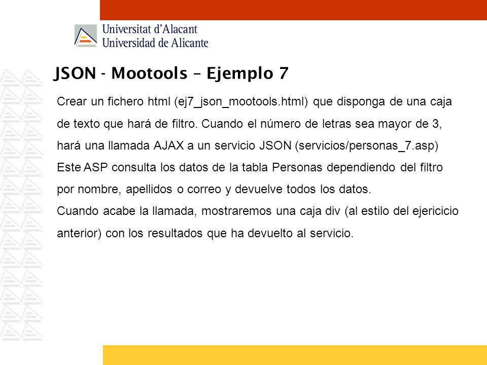 JSON - Mootools – Ejemplo 7
