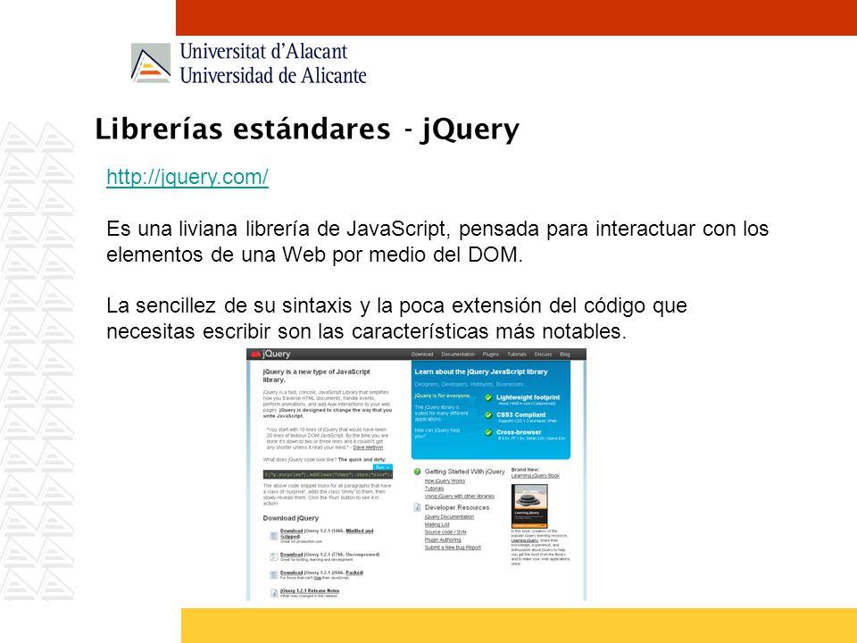 Librerías estándares - jQuery