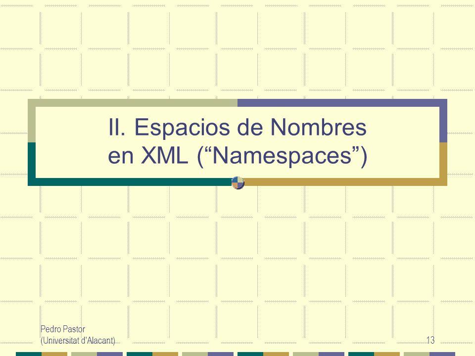 II. Espacios de Nombres en XML ( Namespaces )