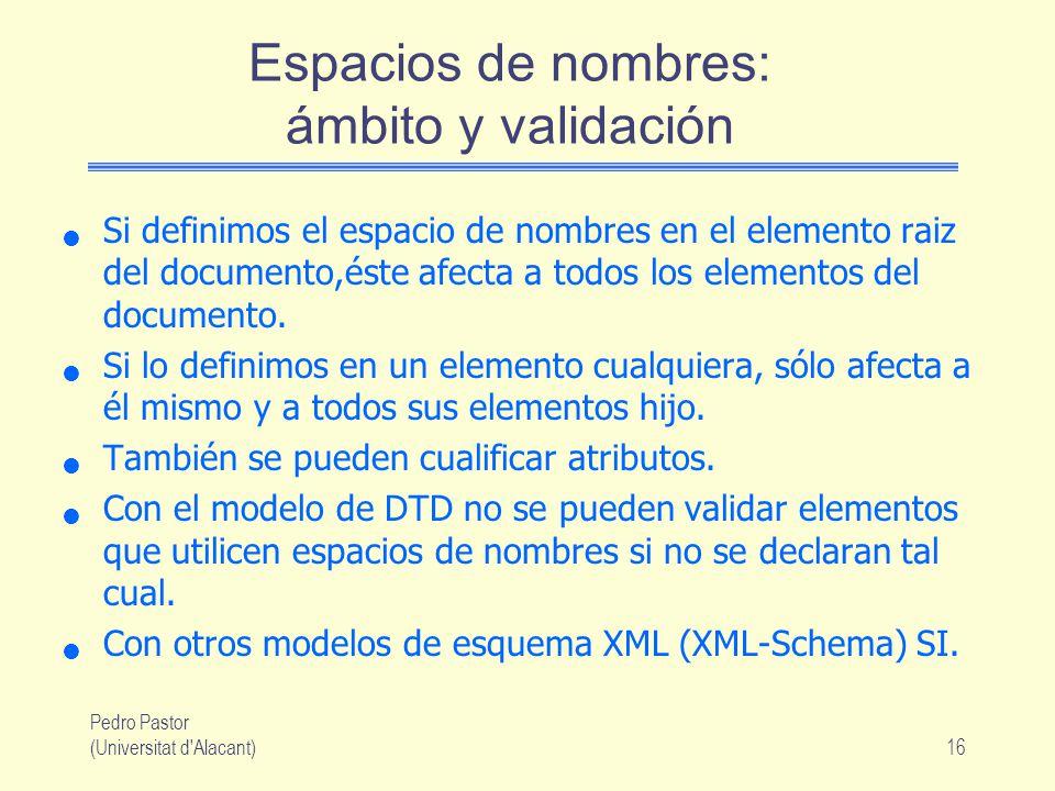 Espacios de nombres: ámbito y validación