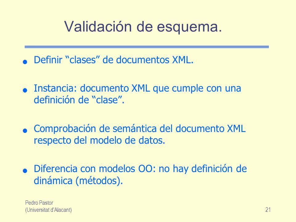 Validación de esquema. Definir clases de documentos XML.