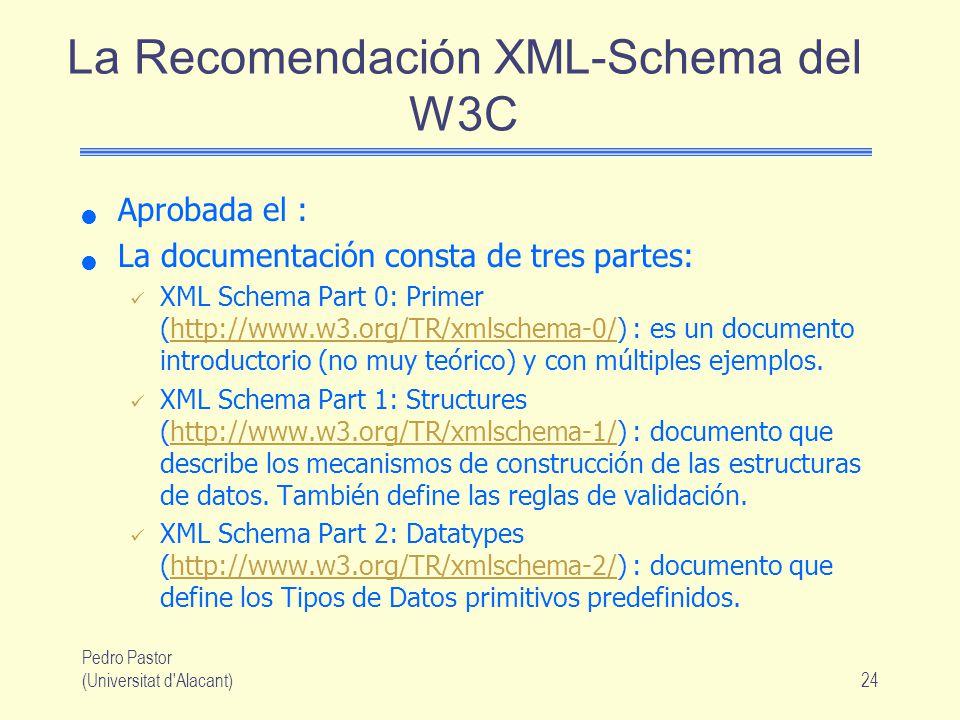 La Recomendación XML-Schema del W3C