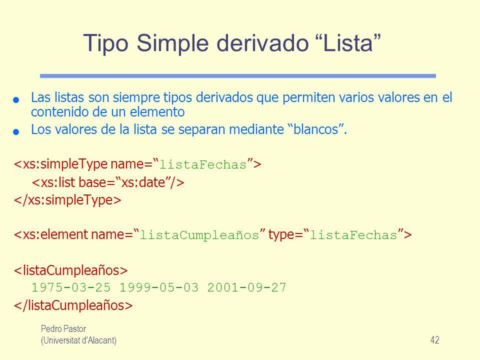 Tipo Simple derivado Lista