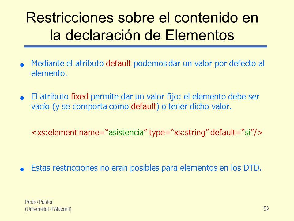 Restricciones sobre el contenido en la declaración de Elementos