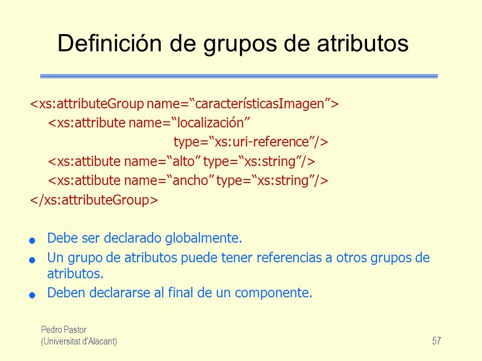 Definición de grupos de atributos