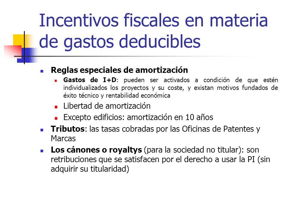 Incentivos fiscales en materia de gastos deducibles