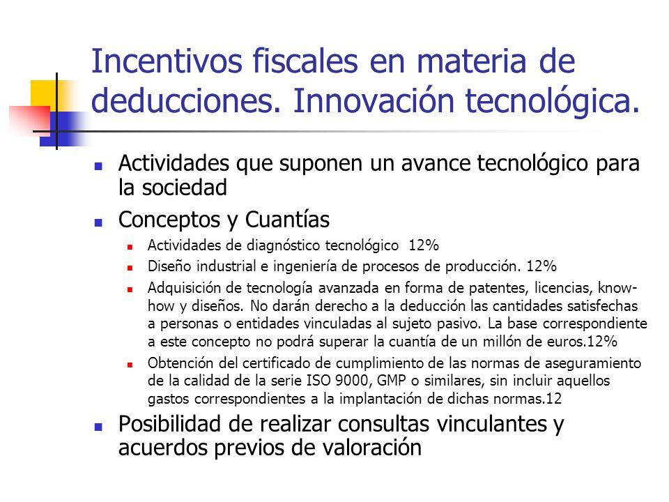Incentivos fiscales en materia de deducciones. Innovación tecnológica.