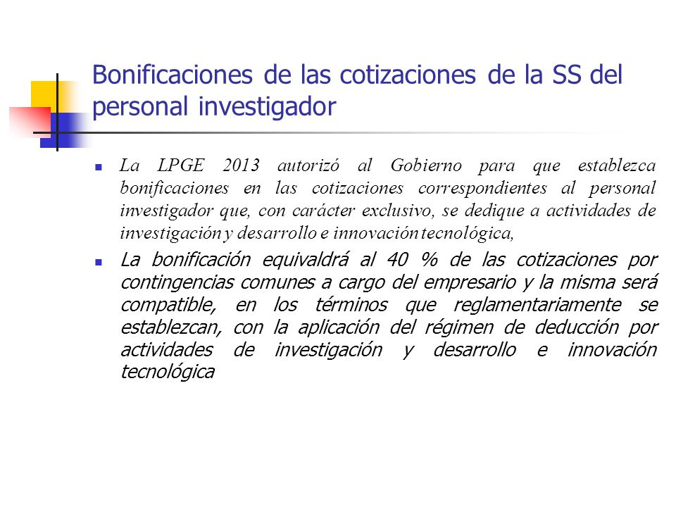 Bonificaciones de las cotizaciones de la SS del personal investigador