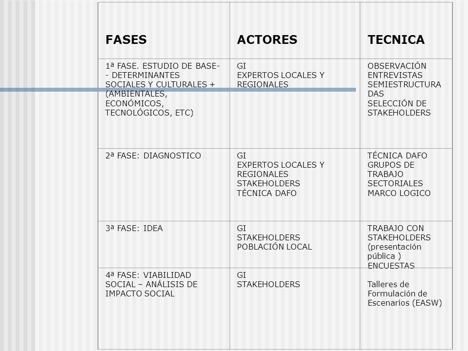FASES ACTORES. TECNICA. 1ª FASE. ESTUDIO DE BASE-- DETERMINANTES SOCIALES Y CULTURALES + (AMBIENTALES, ECONÓMICOS, TECNOLÓGICOS, ETC)