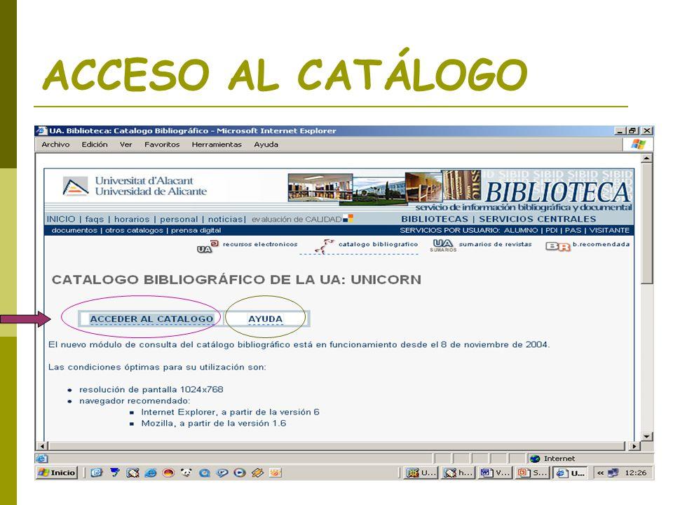 ACCESO AL CATÁLOGO