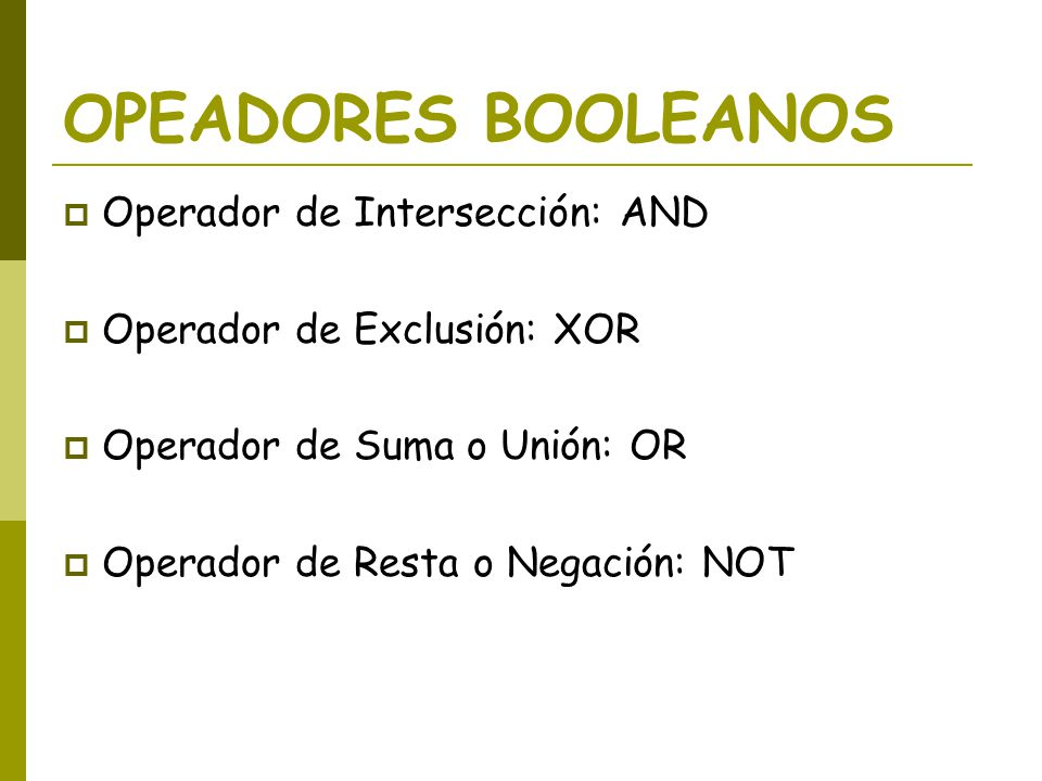 OPEADORES BOOLEANOS Operador de Intersección: AND