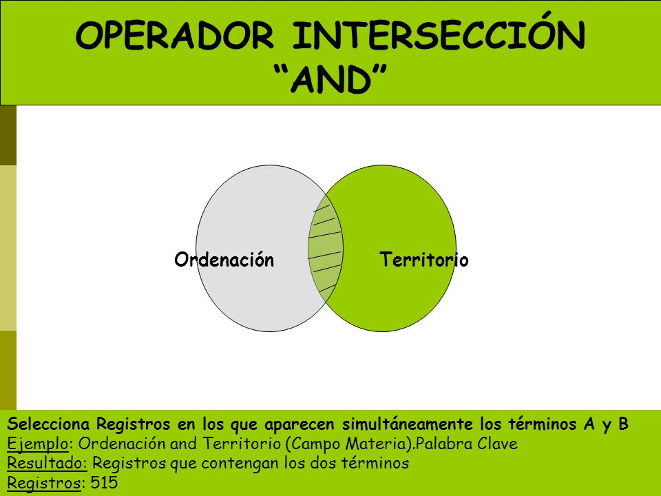 OPERADOR INTERSECCIÓN AND