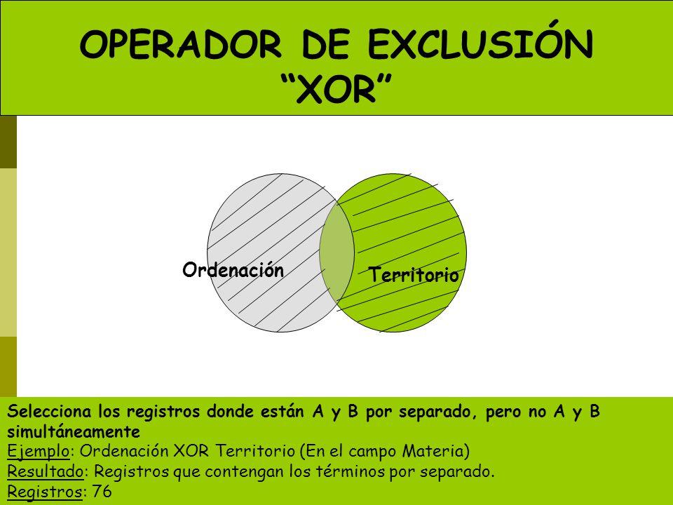 OPERADOR DE EXCLUSIÓN XOR