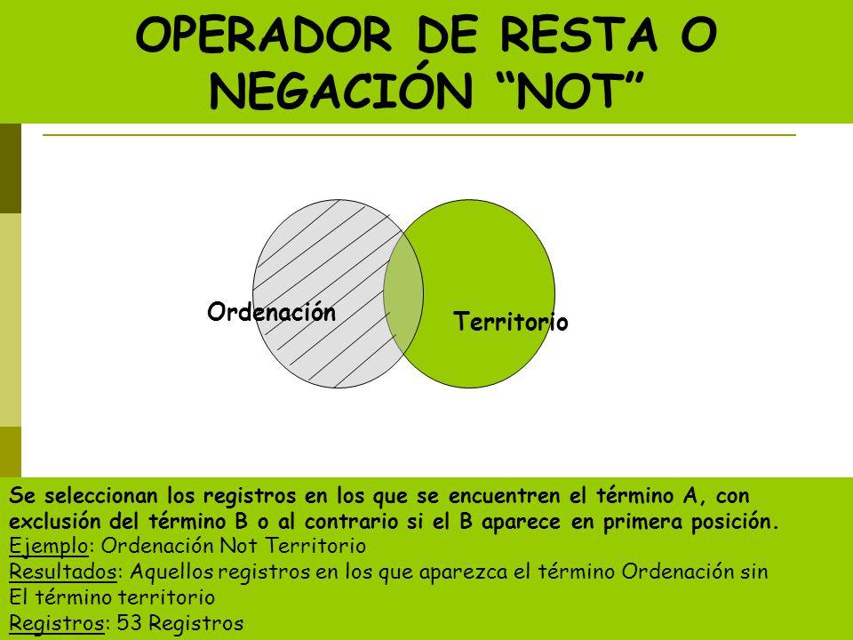 OPERADOR DE RESTA O NEGACIÓN NOT