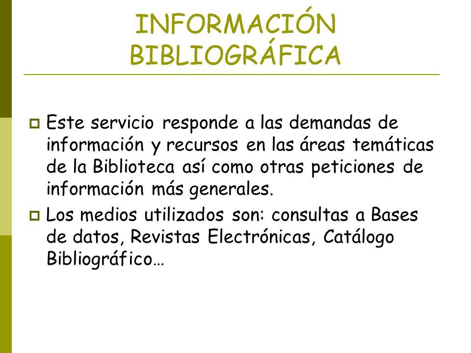 INFORMACIÓN BIBLIOGRÁFICA
