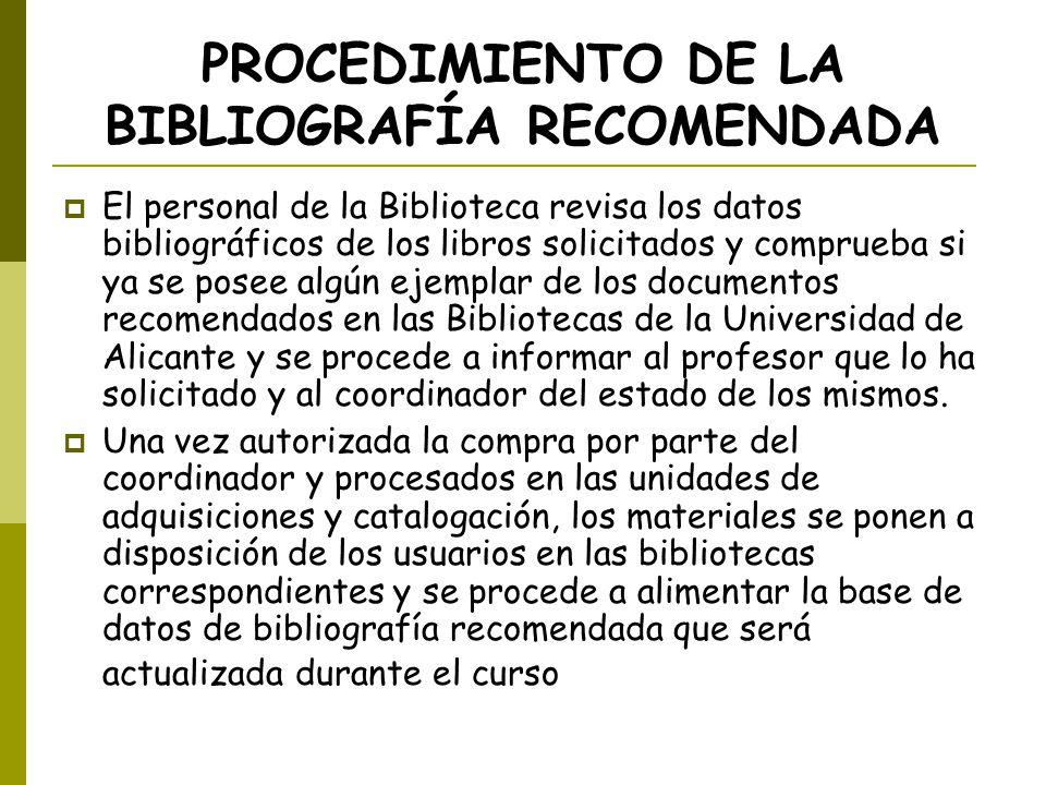 PROCEDIMIENTO DE LA BIBLIOGRAFÍA RECOMENDADA