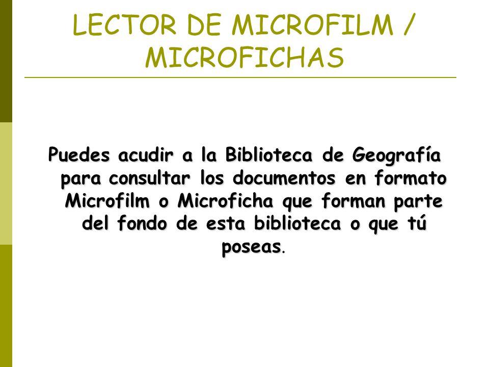 LECTOR DE MICROFILM / MICROFICHAS