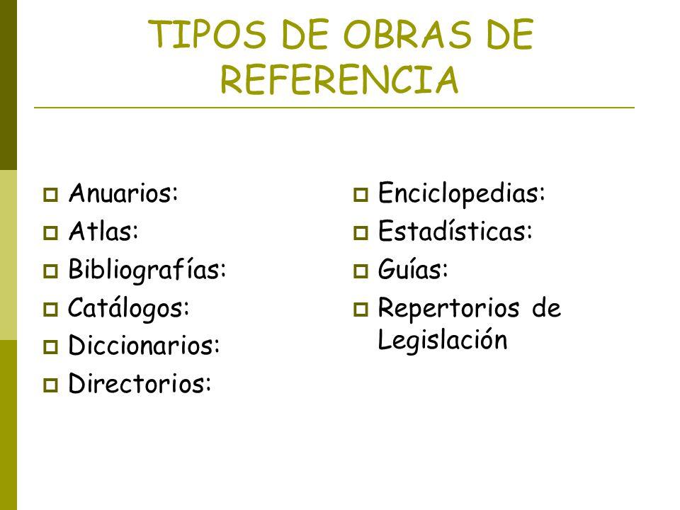 TIPOS DE OBRAS DE REFERENCIA