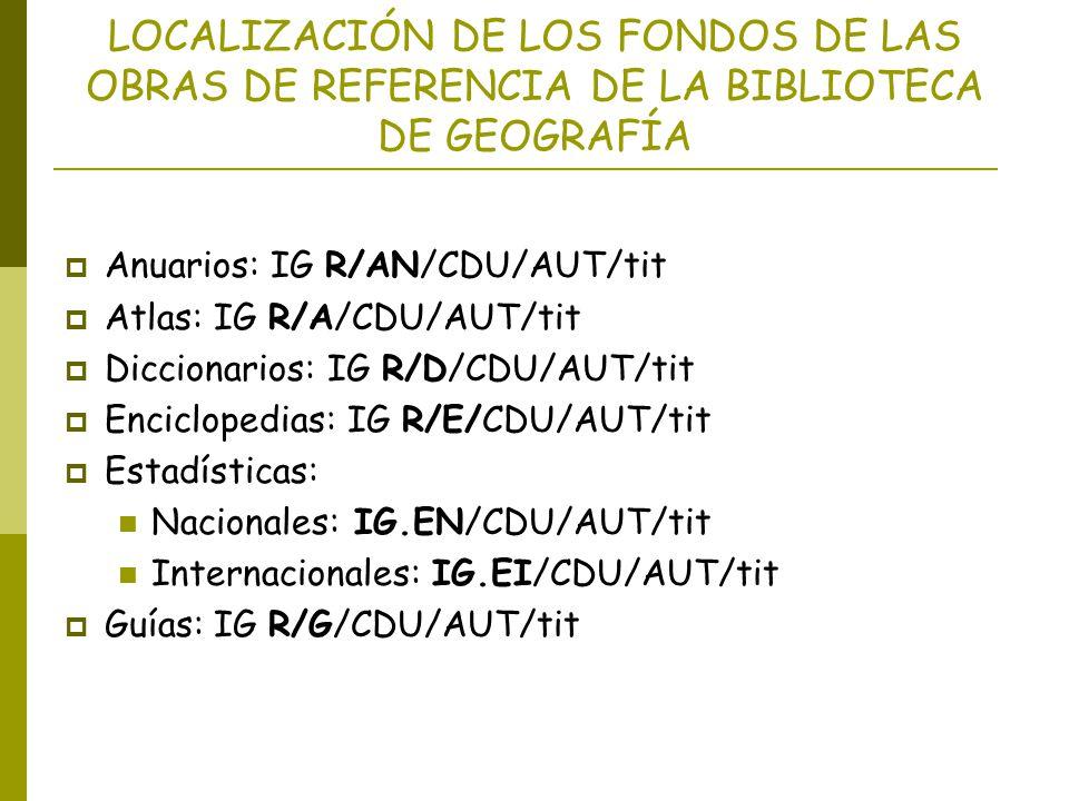 LOCALIZACIÓN DE LOS FONDOS DE LAS OBRAS DE REFERENCIA DE LA BIBLIOTECA DE GEOGRAFÍA