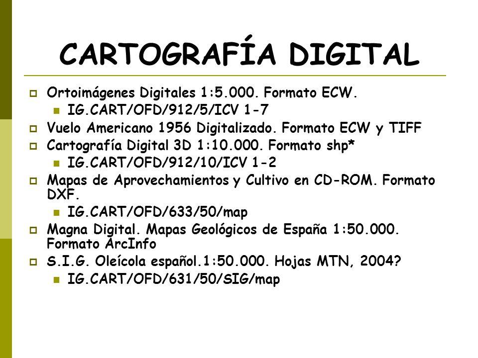 CARTOGRAFÍA DIGITAL Ortoimágenes Digitales 1:5.000. Formato ECW.