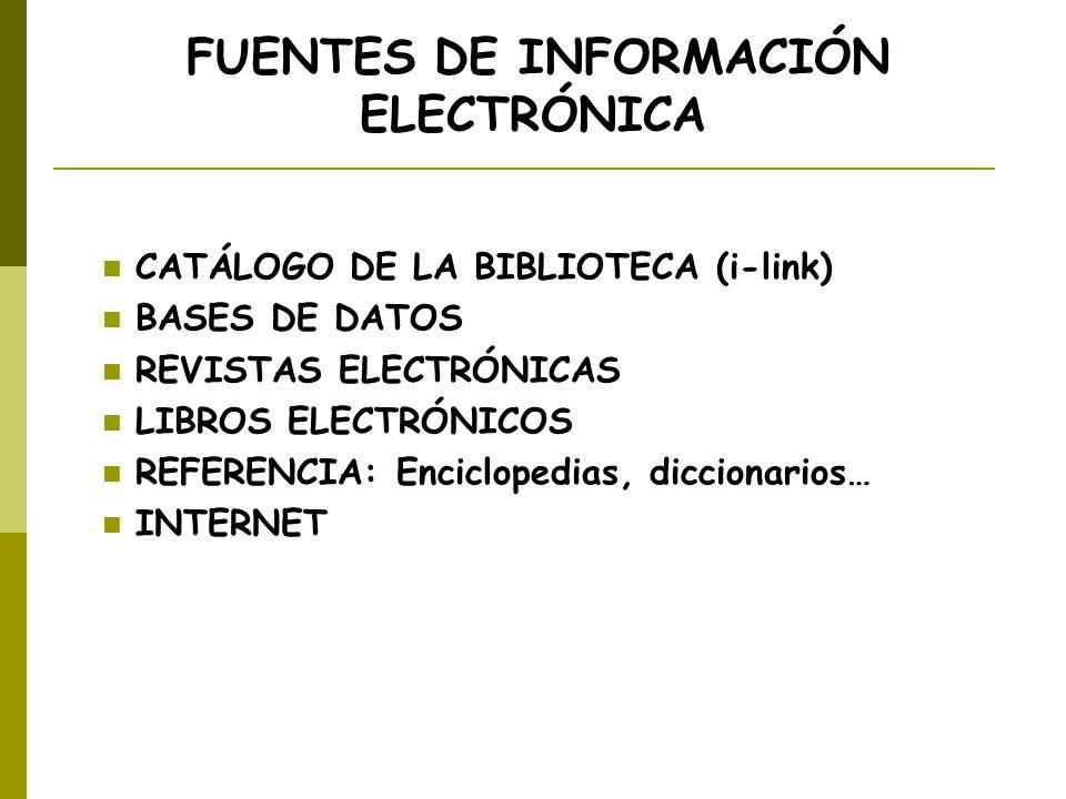 FUENTES DE INFORMACIÓN ELECTRÓNICA